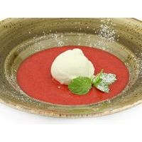 Cold strawberry soup with vanilla ice-cream